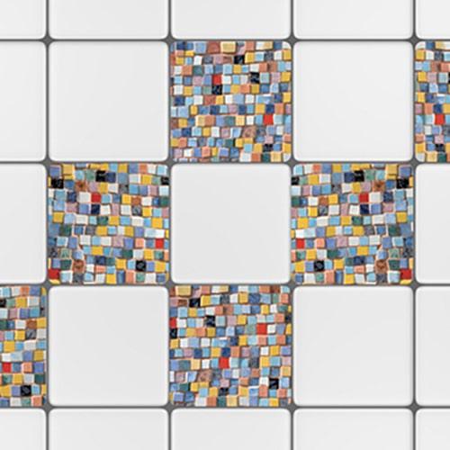 Adhésif Mosaique déco pour carrelage d'intérieur blanc de cuisine
