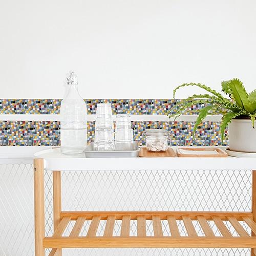Stickers autocollant Mosaique décoration pour carrelage blanc de salle à manger