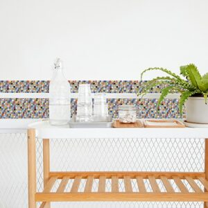 Autocollant effet mosaique décoration pour carrelage blanc de salle à manger