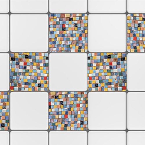 Stickers adhésif effet mosaique décoration pour carrelage blanc d'intérieur de cuisine