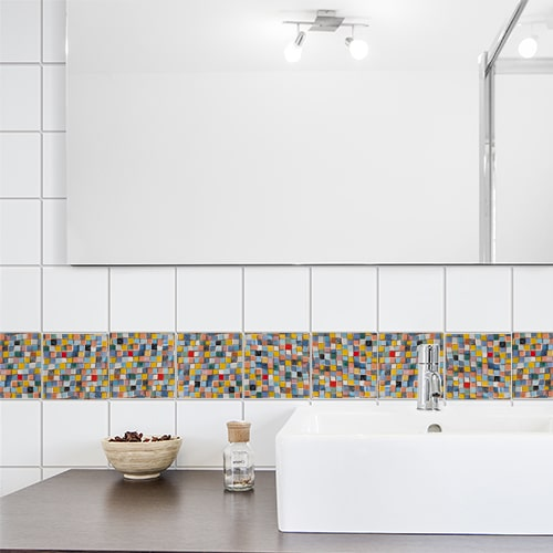 Autocollant Mosaique de couleurs décoration de carrelage blanc de salle de bain