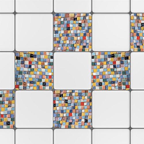 Stickers adhésif décoration Mosaique pour carrelage blanc de cuisine