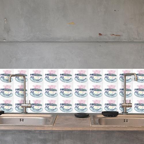 Autocollant déco Mosaique pour carrelage en béton gris de cuisine