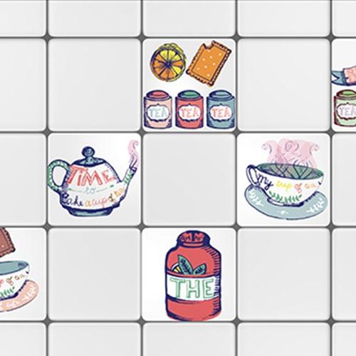 Stickers autocollant Mosaique décoration d'intérieur pour carrelage blanc