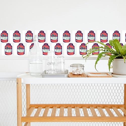 Stickers adhésif déco d'intérieur Tea Time pour carrelage blanc de salle à manger