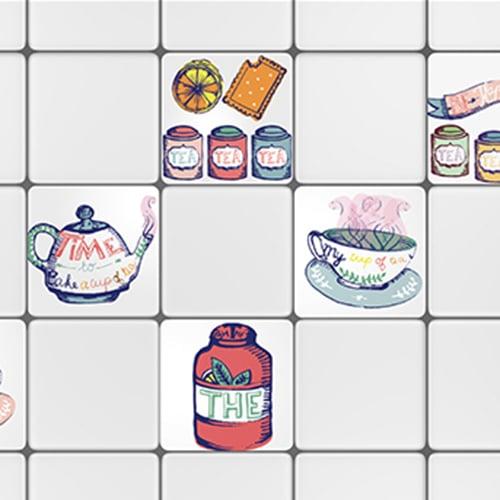 Stickers autocollant déco Tea Time pour carrelage blanc de cuisine