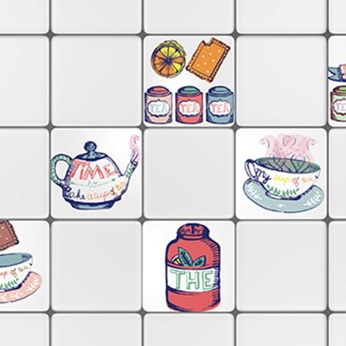 Adhésif Tea Time décoration pour carrelage d'intérieur blanc pour cuisine
