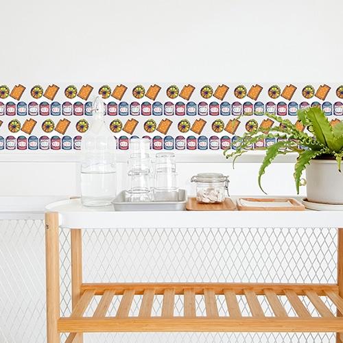 Stickers autocollant effet Tea Time décoration de carrelage blanc pour salle à manger
