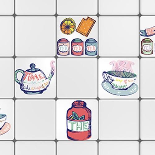 Adhésif décoration effet Tea Time pour carrelage blanc de cuisine