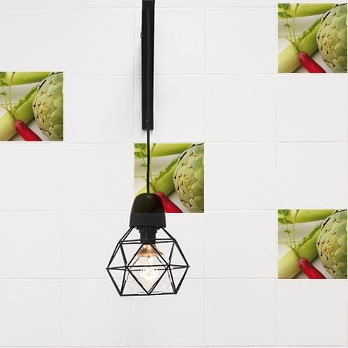 Stickers adhésif Légumes verts décoration de carrelage blanc pour cuisine