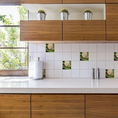 Adhésif décoration Légumes verts pour carrelage blanc de cuisine en bois