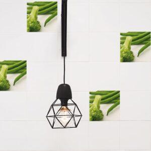 Adhésif Légumes verts décoration pour carrelage blanc de cuisine