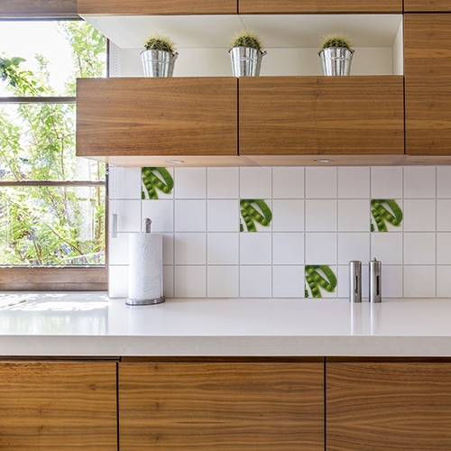 Autocollant Légumes verts décoration d'intérieur pour carrelage blanc de cuisine en bois