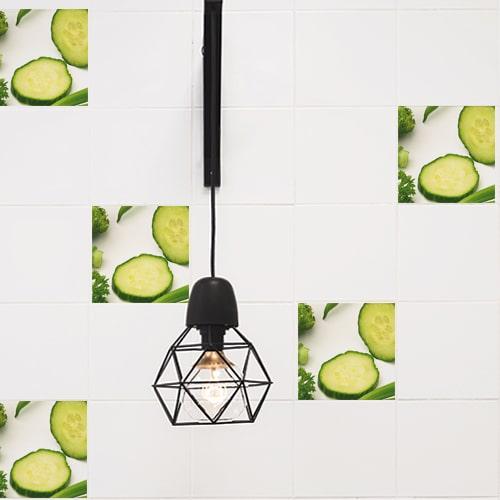 Autocollant légumes verts décoration pour carrelage intérieur blanc de cuisine