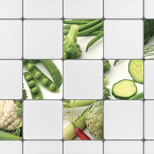 Adhésif déco carrelage blanc légumes verts pour intérieur cuisine
