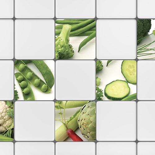 Stickers autocollant effet légumes verts déco pour carrelage blanc de cuisine