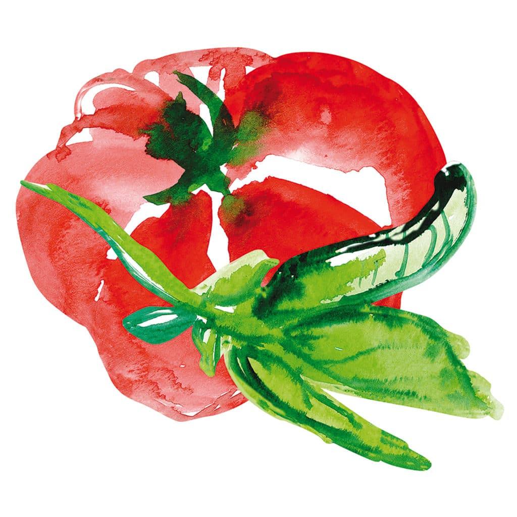Sticker aquerelle tomate rouge pour carrelage cuisine