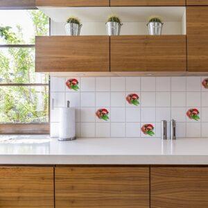 Autocollant aquerelle tomate rouge pour carrelage blanc cuisine moderne