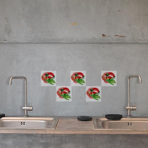 Adhésif pour carrelage de cuisine aquerelle tomate rouge déco faïence béton