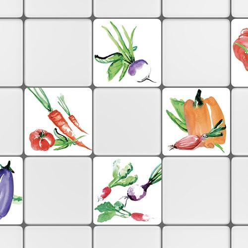 Sticker autocollant aquerelle tomate rouge pour petits carreaux blanc de carrelage cuisine