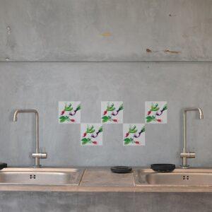Stickers autocollant aquarelle décoration pour carrelage en béton gris de cuisine