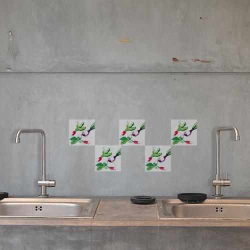 Sticker adhésif de Coquelicots Colorés dans un salon derrière un fauteuil vert