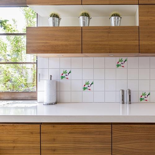 Adhésif aquarelle déco pour carrelage blanc de cuisine en bois