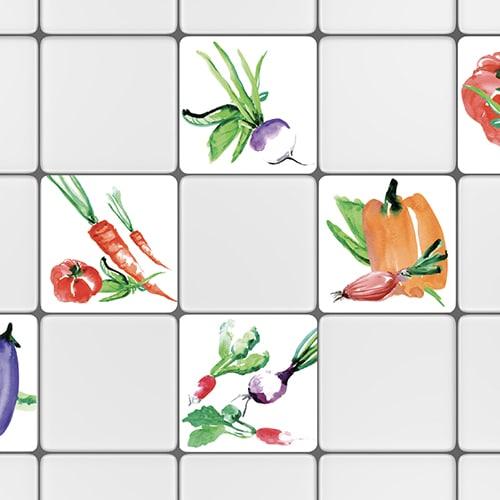 Stickers adhésif déco pour carrelage blanc Aquarelle pour cuisine