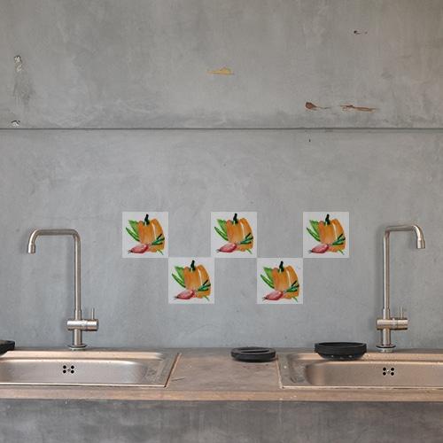 Autocollant Aquarelle décoration d'intérieur pour carrelage en béton gris