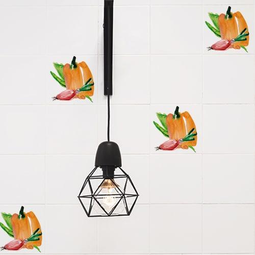 Stickers autocollant décoration Aquarelle pour intérieur carrelage en béton gris