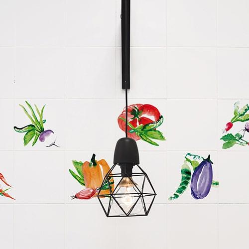 Autocollant déco Aquarelle légumes pour carrelage blanc de cuisine