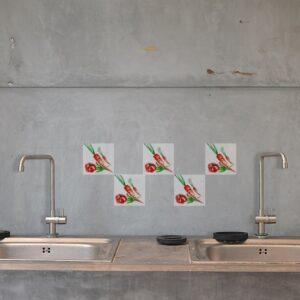 Autocollant d'intérieur pour carrelage Aquarelle de cuisine en béton gris