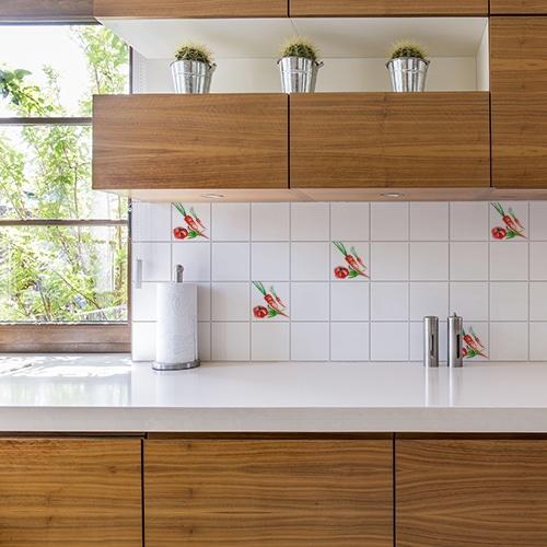Adhésif décoration d'intérieur Aquarelle pour carrelage blanc de cuisine en bois