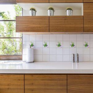 Stickers autocollant aquarelle pour décoration de carrelage blanc de cuisine en bois