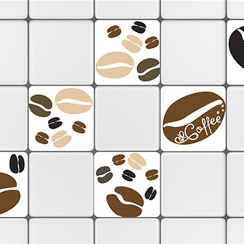 Stickers adhésif décoration Coffee Time pour carrelage blanc de cuisine