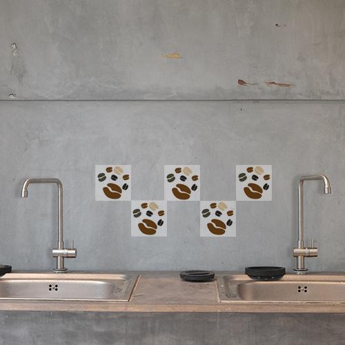 Stickers autocollant Coffee Time décoration d'intérieur pour carrelage en béton gris de cuisine
