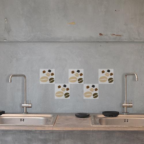 Autocollant déco effet Coffee Time pour carrelage en béton gris de cuisine