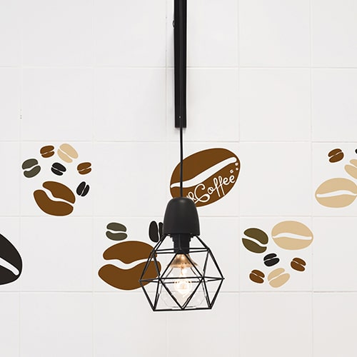 Stickers autocollant déco carrelage blanc effet Coffee Time pour cuisine