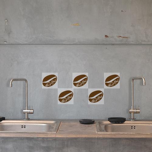 Autocollant déco Coffee Time pour intérieur carrelage en béton gris de cuisine