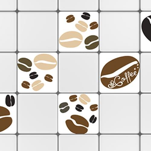 Stickers adhésif déco carrelage blanc Coffee Time pour cuisine