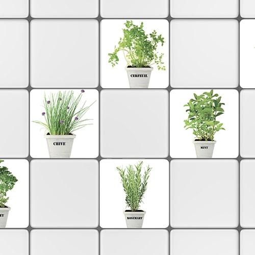 Sticker autocollant pour petits carreaux blanc de cuisine herbes aromatiques en pot
