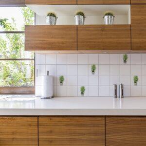 Adhésif décoration d'intérieur Aromatiques pour carrelage blanc de cuisine en bois