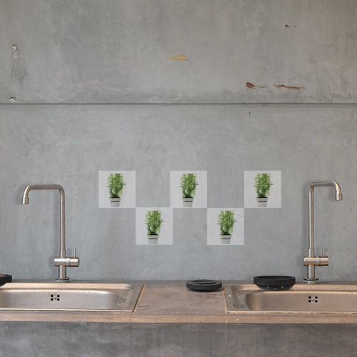 Stickers autocollant Aromatiques décoration pour carrelage en béton gris de cuisine