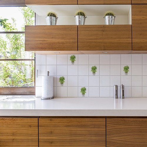 Adhésif décoration pour carrelage Aromatiques vert de cuisine en bois