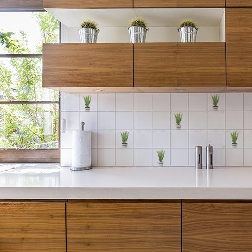 Adhésif carrelage pour intérieur Aromatiques vert pour cuisine en bois