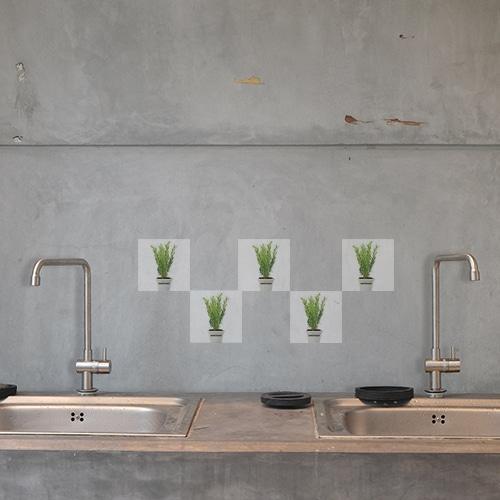 Autocollant pour déco de carrelage Aromatiques vert de cuisine en béton gris