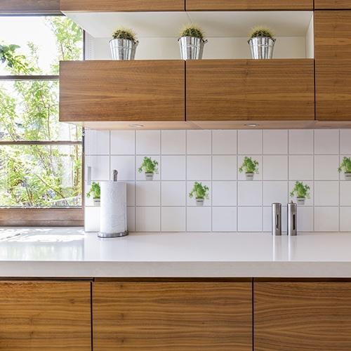 Autocollant Aromatique pour déco d'intérieur carrelage blanc de cuisine en bois