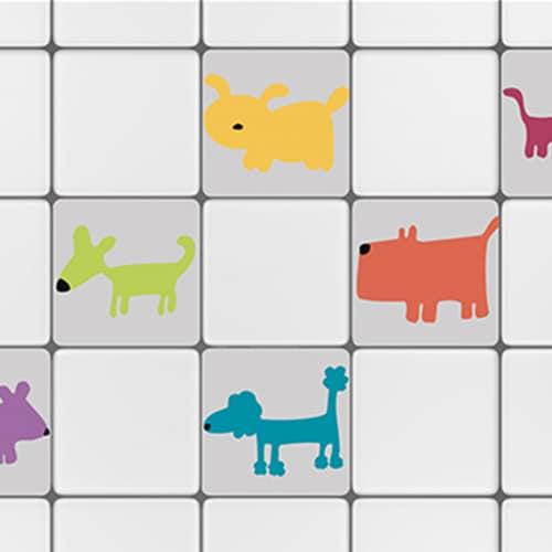 Stickers autocollant Funny Dogs bleu pour décoration de carrelage blanc pour cuisine