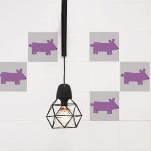 Adhésif rose décoration Funny Dogs pour carrelage blanc de cuisine