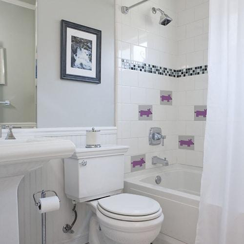 Stickers autocollant déco rose Funny Dogs pour carrelage blanc de salle de bain